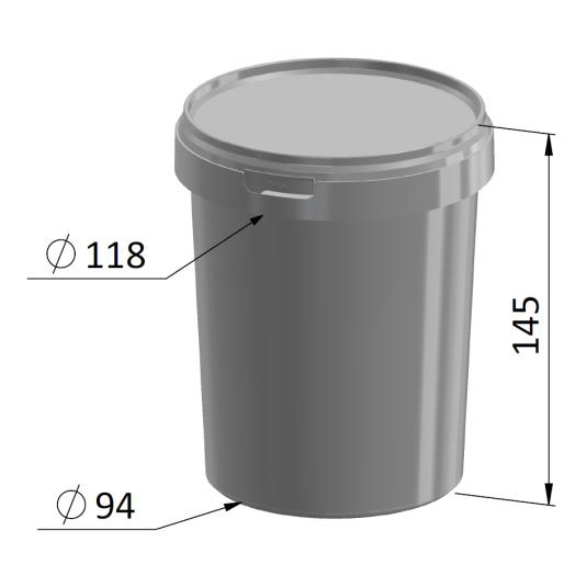 1 Litre Round Container