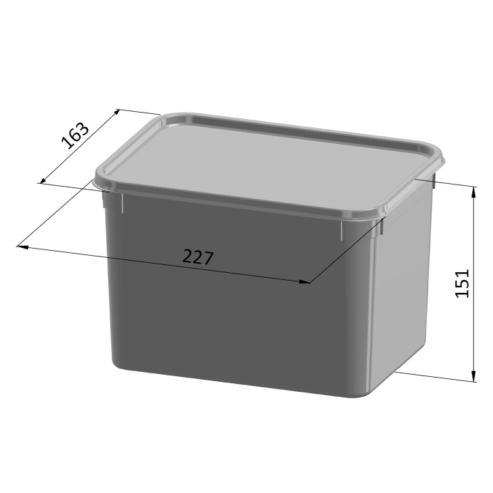 4 Litre Square Container